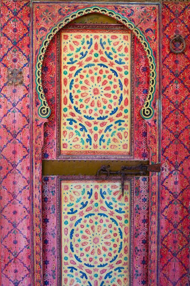 Painted door from Dar Mokri in Fez, Morocco