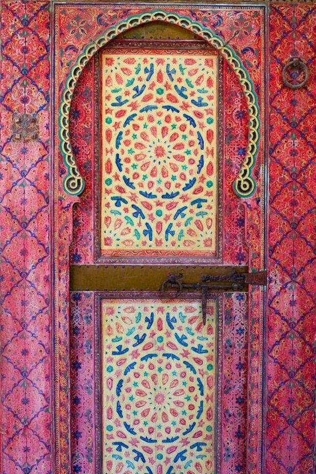 Painted door from Dar Mokri in Fez, Morocco